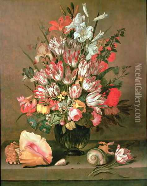 Tulips, Lilies, Irises and Roses Oil Painting - Anthony I Claesz.