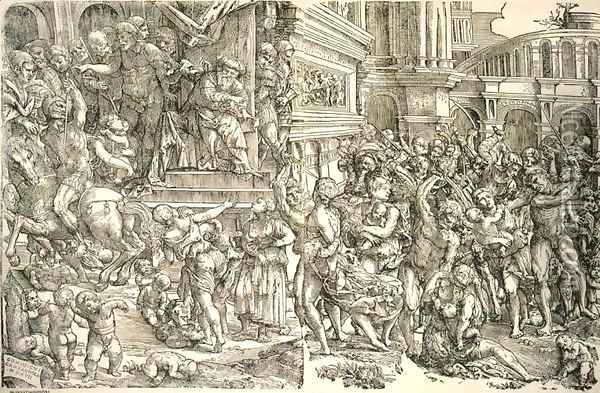 Massacre of the Innocents Oil Painting - Domenico Campagnola