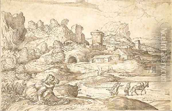 An extensive landscape with a fortified town, a mother and child in the foreground Oil Painting - Domenico Campagnola