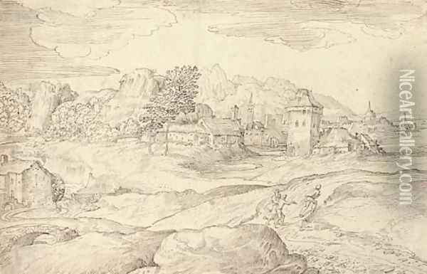 An extensive landscape with a watermill and figures on a road, a town beyond Oil Painting - Domenico Campagnola