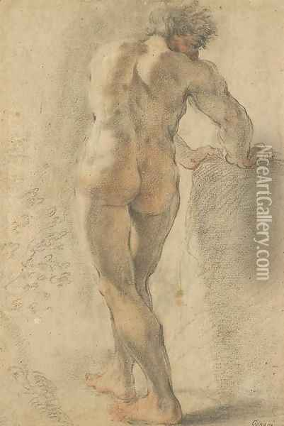 A standing nude, seen from behind, leaning on a block Oil Painting - Domenico Maria Canuti