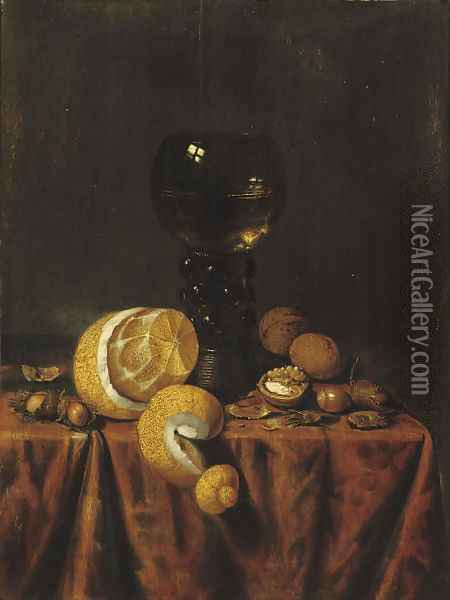 A 'Roemer' of white wine, a partially peeled lemon, walnuts and hazelnuts, all on a draped table Oil Painting - Edwaert Collier