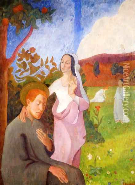 Saint Francis and the Vision of the Three White Virgins Oil Painting - Gad Frederik Clement