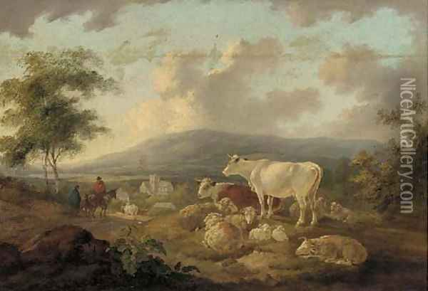 Figures on a track returning to a village, cattle and sheep in the foreground Oil Painting - Peter Le Cave
