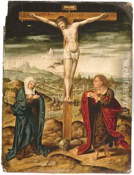 The Crucifixion with the Virgin and Saint John the Evangelist Oil Painting - Joos Van Cleve