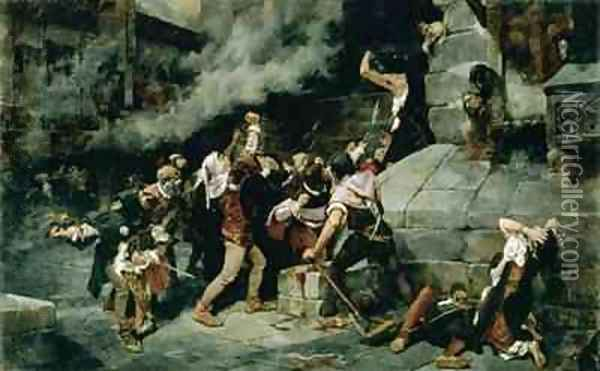 At the Feet of the Saviour Slaughter of the Jews in the Middle Ages Oil Painting - Vicente Cutanda y Toraya