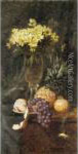 Still Life Of Fruit And Flowers Oil Painting - Iulii Iul'evich (Julius) Klever