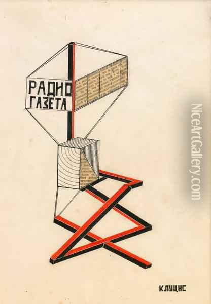 Design For The Radio Gazeta Oil Painting - Gustav Gustavovich Kluzis