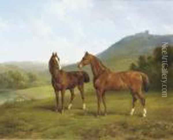 Horses In A Valley Oil Painting - Joseph Augustus Knip
