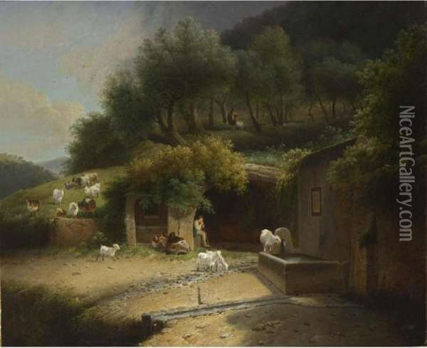 A Wooded Hilly Landscape With A  Shepherd Resting In A Grotto With His Herd And A Donkey, Near A Fountain  With Another Shepherd In The Background Oil Painting - Joseph Augustus Knip