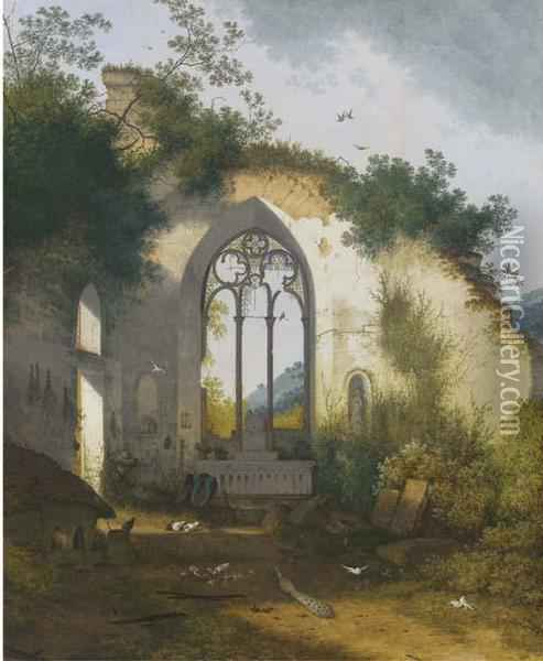 A Ruined Chapel With A Pig Sty, Poultry And A Peacock Sheltering In The Apse Oil Painting - Joseph Augustus Knip
