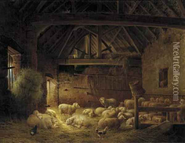 A Flock Of Sheep In A Stable Oil Painting - Joseph Augustus Knip