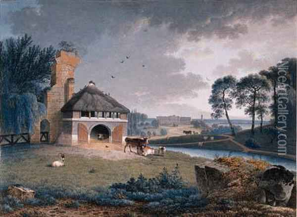 A Landscape With Cattle By A Barn On A Rise, A Palace Beyond Oil Painting - Joseph Augustus Knip