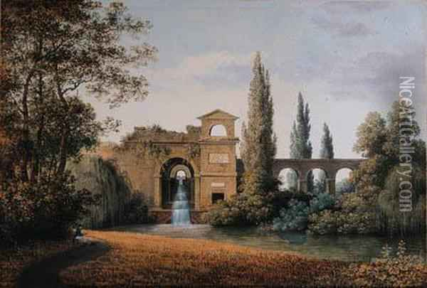 A View Of An Aqueduct With An  Artificial Waterfall, A Seateddraughtsman In The Foreground Oil Painting - Joseph Augustus Knip