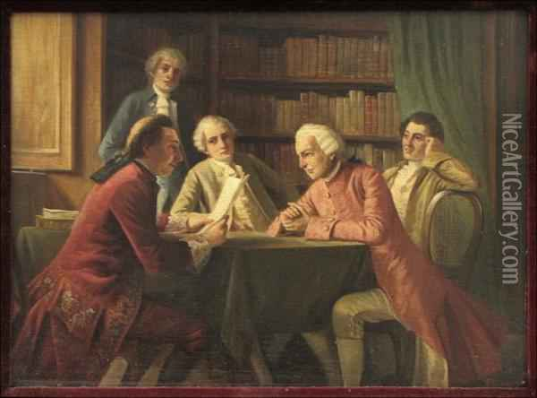 The Conference Oil Painting - August Knoop