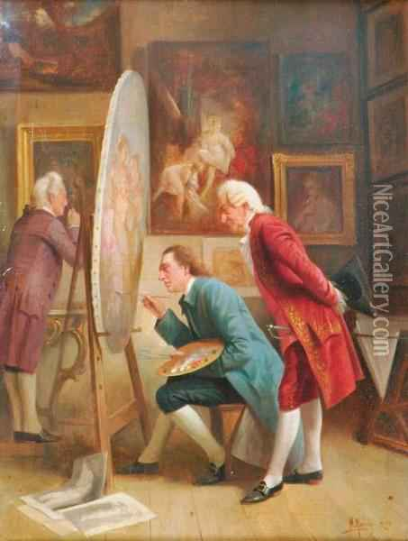 Inspecting The Commission Oil Painting - August Knoop