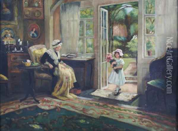Visiting Grandmother Oil Painting - Georges Sheridan Knowles