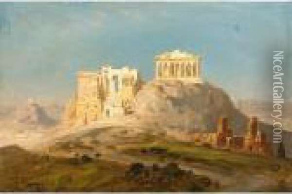 View Of The Akropolis, Athens Oil Painting - Ernst Carl Eugen Koerner