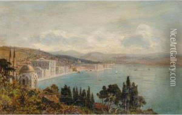 View Of The Dolmabahce Palace, Constantinople Oil Painting - Ernst Carl Eugen Koerner