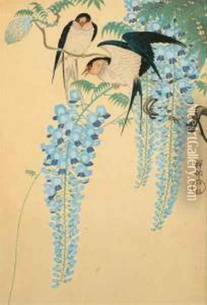 Two Barn Swallows On A Flowering Wisteria Oil Painting - Ohara Koson