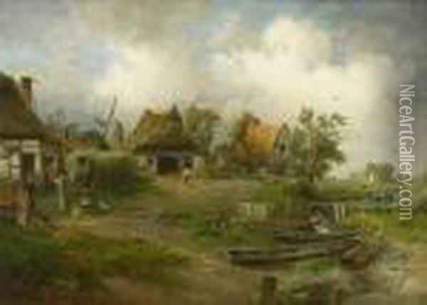 Dorfliches Idyll. Oil Painting - Paul Koster