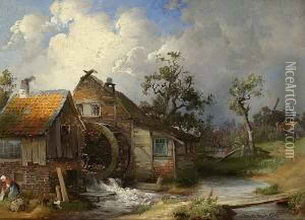 Alte Wassermuhle. Oil Painting - Paul Koster