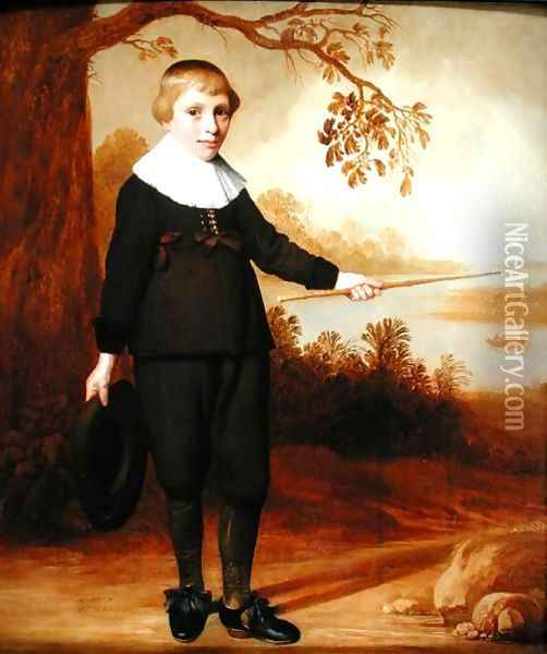 Portrait of a Seven-year old Boy in a River Landscape 1640 Oil Painting - Henry I Cooke