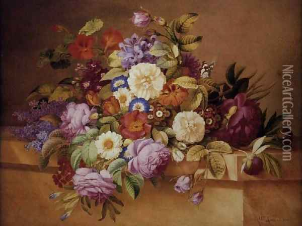 Roses, Convolvuli and other Flowers on a Ledge Oil Painting - Alexandre Couronne