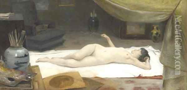 A Reclining Nude in a Studio Oil Painting - Christian Clausen