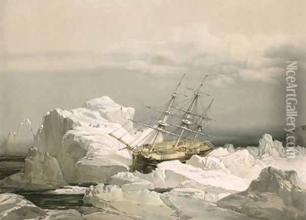 The critical position of H.M.S. Investigator on the North Coast of Baring Island, 1851 Oil Painting - S. Gurney Cresswell