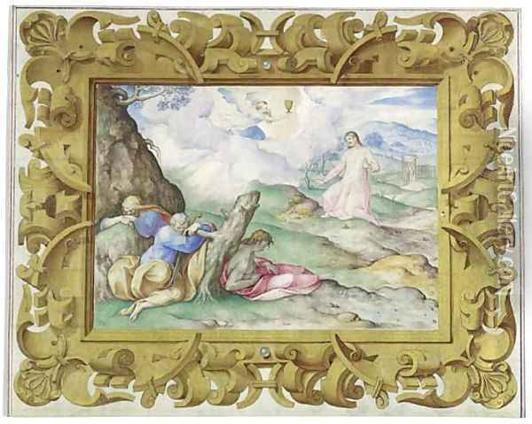 The Agony In The Garden, In A Decorative Frame Oil Painting - Giovanni B. (Il Genvovese) Castello