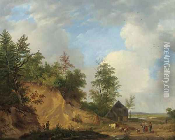 Figures conversing by a crag in a panoramic summer landscape Oil Painting - Abraham Johannes Couwenberg, Jzn.
