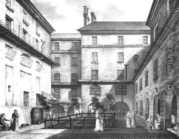 View of the Women's Yard at the Conciergerie Prison 1831 Oil Painting - Collard