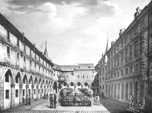 View of the Men's Yard at the Conciergerie Prison 1831 Oil Painting - Collard