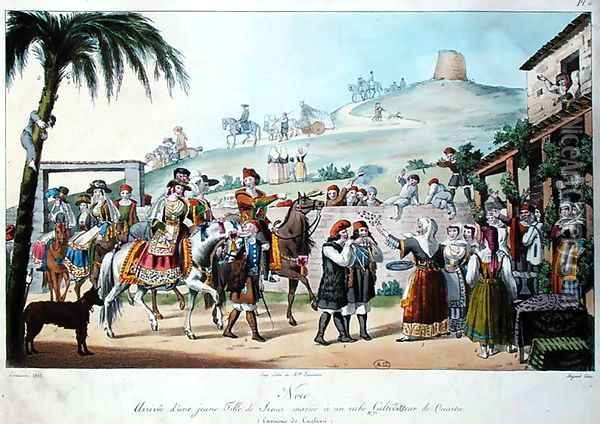 Wedding procession in the Cagliari region of Italy, engraved by Bezard 1825 Oil Painting - Cominotti