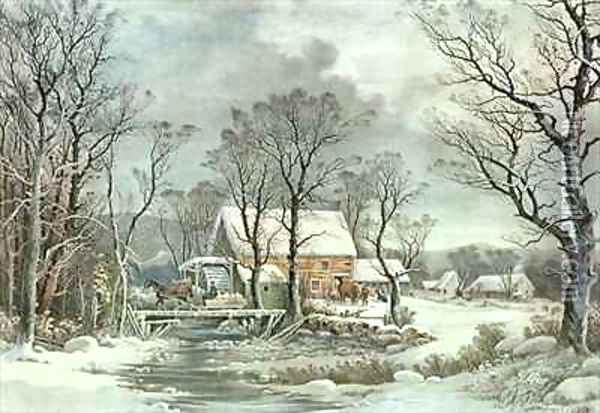Winter in the Country the Old Grist Mill Oil Painting - Currier