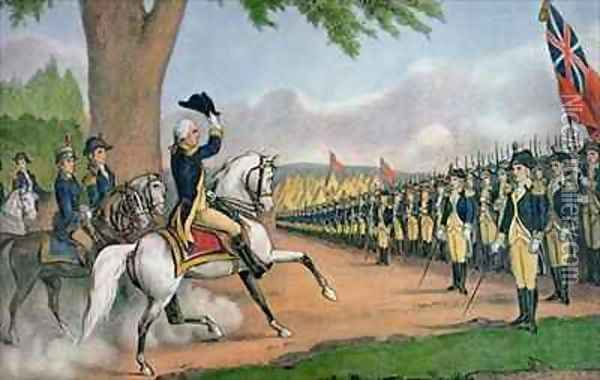 George Washington 1732-99 taking command of the American Army at Cambridge Massachusetts Oil Painting - Currier