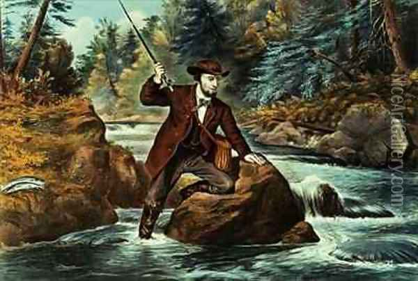 Brook Trout Fishing An Anxious Moment Oil Painting - Currier