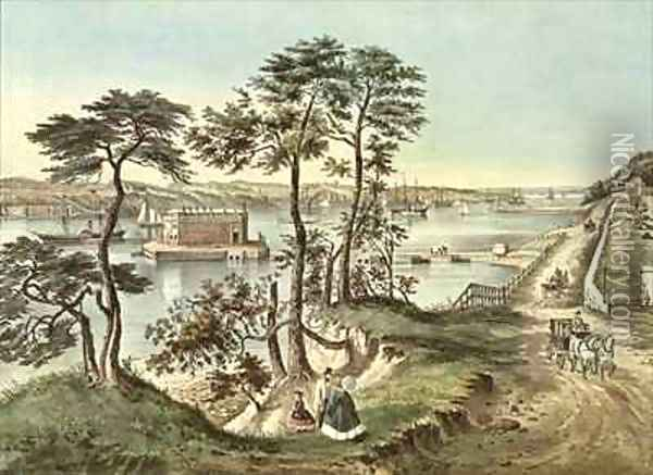 Staten Island and the Narrows from Fort Hamilton Oil Painting - Currier