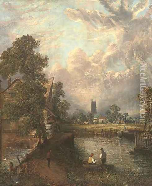 Anglers before a mill, with a church beyond Oil Painting - John Constable