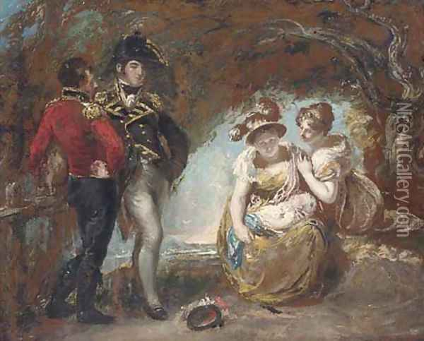 A group of figures in a wood, traditionally identified as General Fisher, Captain Wordsworth, Mary Fisher, Maria Constable and a baby Oil Painting - John Constable