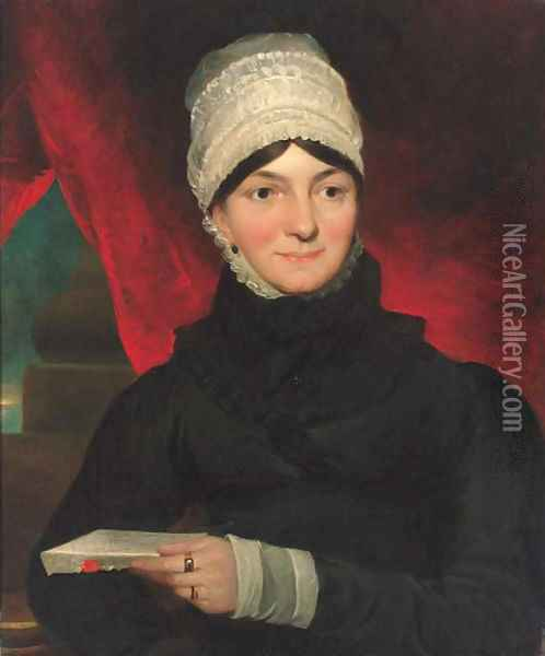 Portrait of Mrs Evans, half-length, in a black dress with white bonnet, holding a letter in her left hand Oil Painting - John Constable