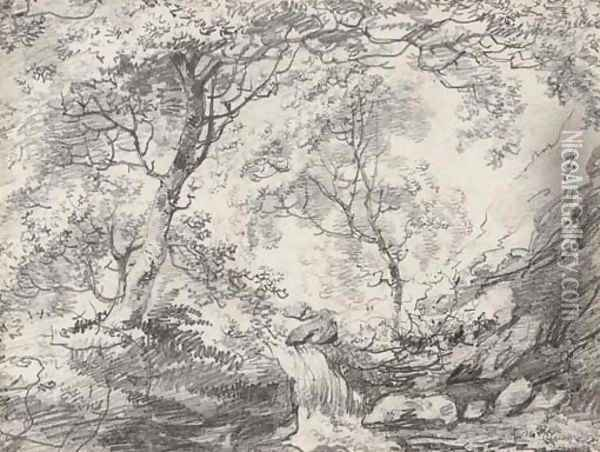 A woodland landscape with a waterfall Oil Painting - John Constable