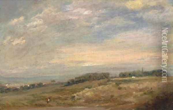 An extensive landscape with a figure in the foreground, traditionally identified as Sandpits near Dedham Oil Painting - John Constable