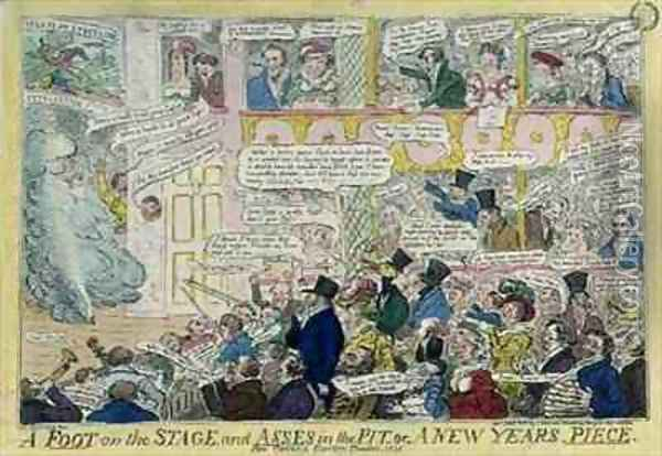 A Foot on the Stage and Asses in the Pit or A New Years Piece for Covent Garden Theatre Oil Painting - Isaac Robert Cruikshank