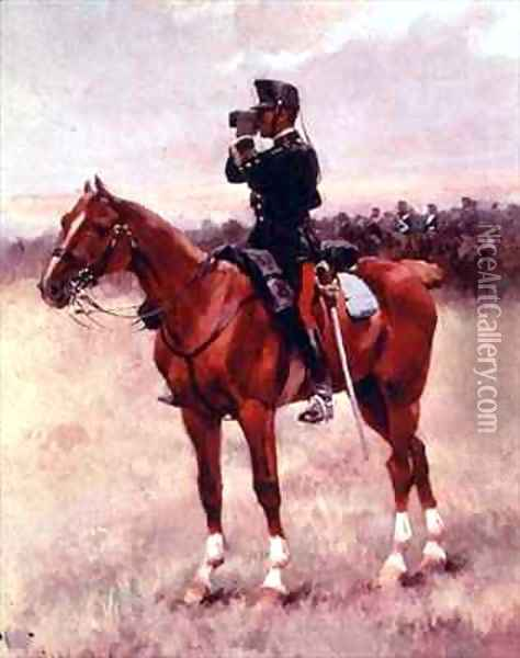 The Spanish Cavalry Officer Oil Painting - Josep Cusachs y Cusachs