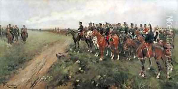Parade in the field before His Majesty King Alfonso XIII Oil Painting - Josep Cusachs y Cusachs