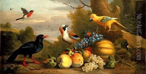 A Bullfinch, a Chough, a Jay and a Sun Conure with quinces, grapes and melons in a landscape Oil Painting - Jakob Bogdani Eperjes C