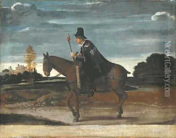 A landscape with a cloaked figure riding a donkey Oil Painting - Annibale Carracci