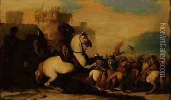 A Cavalry Engagement Outside a Fort Oil Painting - Jacques Courtois